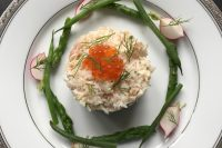Brown crab with Russian salad